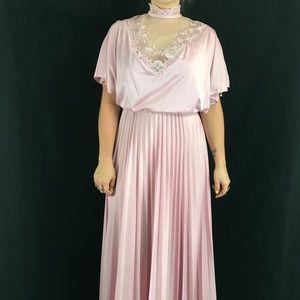 70s Accordion Pleated Maxi Dress